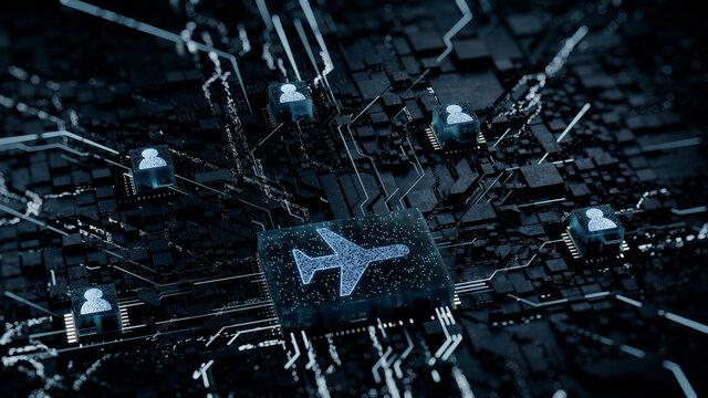 Flight Technology Concept with airplane symbol on a Microchip. White Neon Data flows between Users and the CPU across a Futuristic Motherboard. 3D render.