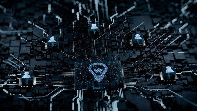 Innovation Technology Concept with lightbulb symbol on a Microchip. White Neon Data flows between Users and the CPU across a Futuristic Motherboard. 3D render.
