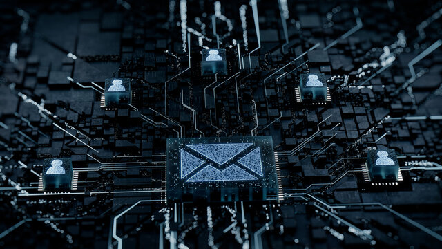 Email Technology Concept with Envelope symbol on a Microchip. White Neon Data flows between Users and the CPU across a Futuristic Motherboard. 3D render.