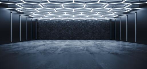 Fototapeta Sci Fi Futuristic Garage Hangar Studio Modern Hexagon White Neon Blue Lights Glowing Concrete Cement Showroom Underground Tunnel Corridor Background 3D Rendering