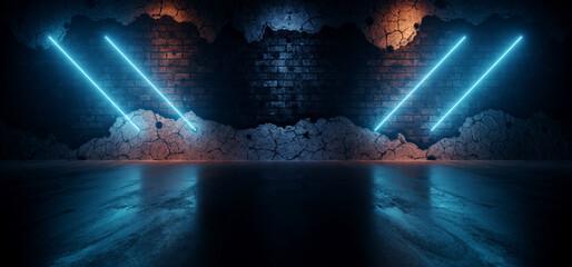 Rough Dark Neon Sci Fi Futuristic Lasers Glowing Tube Lights Blue Orange On Rough Brick Wall Realistic Cement Concrete Asphalt Glossy Floor Dark Ambient 3D Rendering