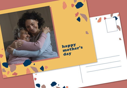 Mother's Day Terrazzo-Inspired Postcard Layout