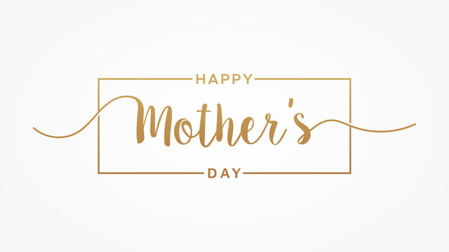 Happy Mother's Day lettering hand drawn calligraphy gold text with square line frame isolated on white background. Flat vector illustration usable for web banners, posters and greeting cards.