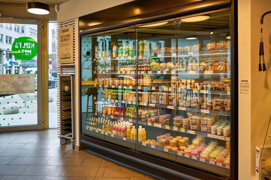 BERLIN, GERMANY - CIRCA SEPTEMBER, 2019: interior shot of Bio Company supermarket in Berlin. Bio Company is one of the largest regional organic supermarket chains in Germany.