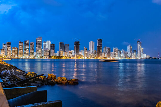 Night landscape in the city of Cartagena, Colombia.