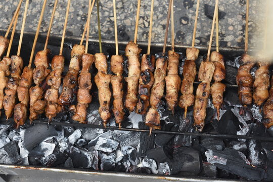 The satay is grilled before serving
