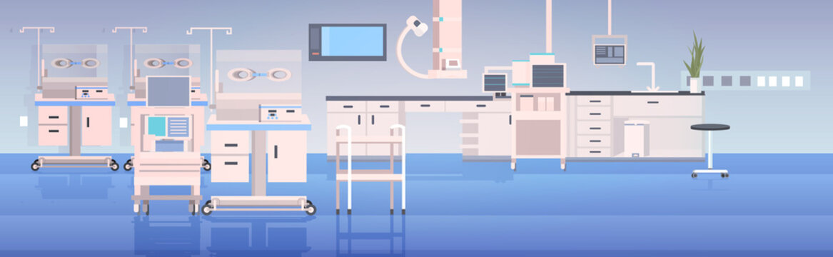 hospital operating table and medical devices modern clinic surgery room hospital interior intensive therapy surgical procedures concept horizontal