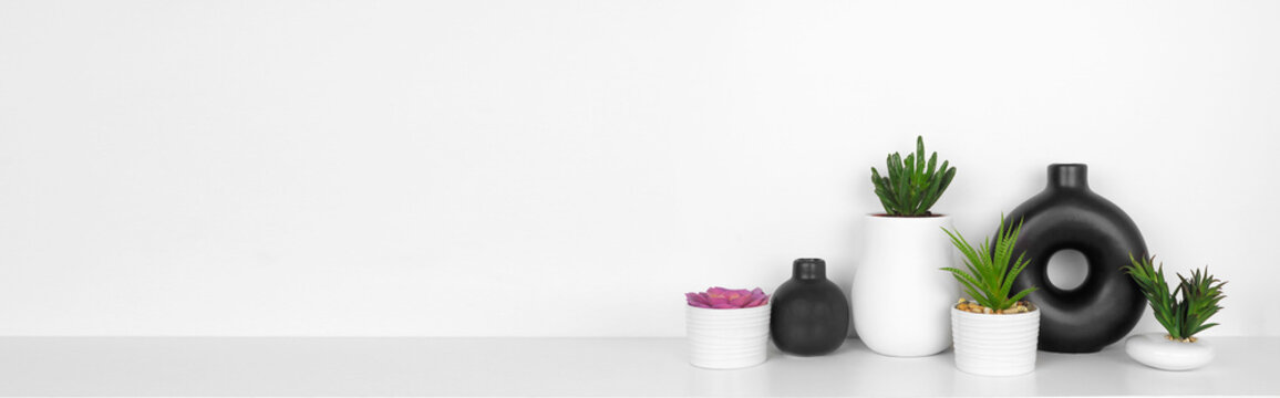Modern black and white home decor and plants on a shelf. White shelf against a white wall. Banner with copy space.