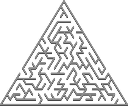 Vector template with a gray triangular 3D maze, puzzle.