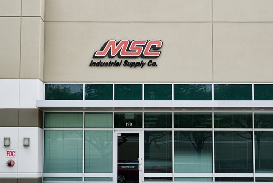 Houston, Texas USA 04-04-2021: MSC Industrial Supply Co. office building exterior in Houston, TX. USA industry equipment distribution company.