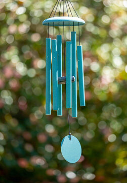 Blue Wind Chimes on a Sunny Day