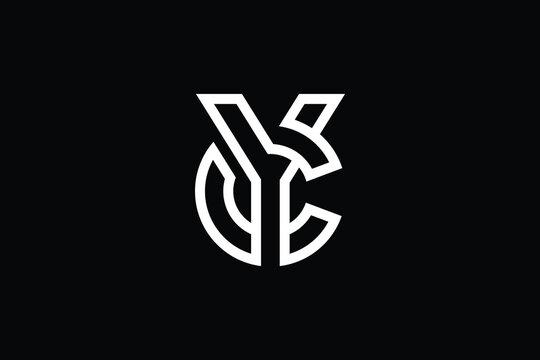 Minimal elegant monogram art logo. Outstanding professional trendy awesome artistic YC CY initial based Alphabet icon logo. Premium Business logo White color on black background.