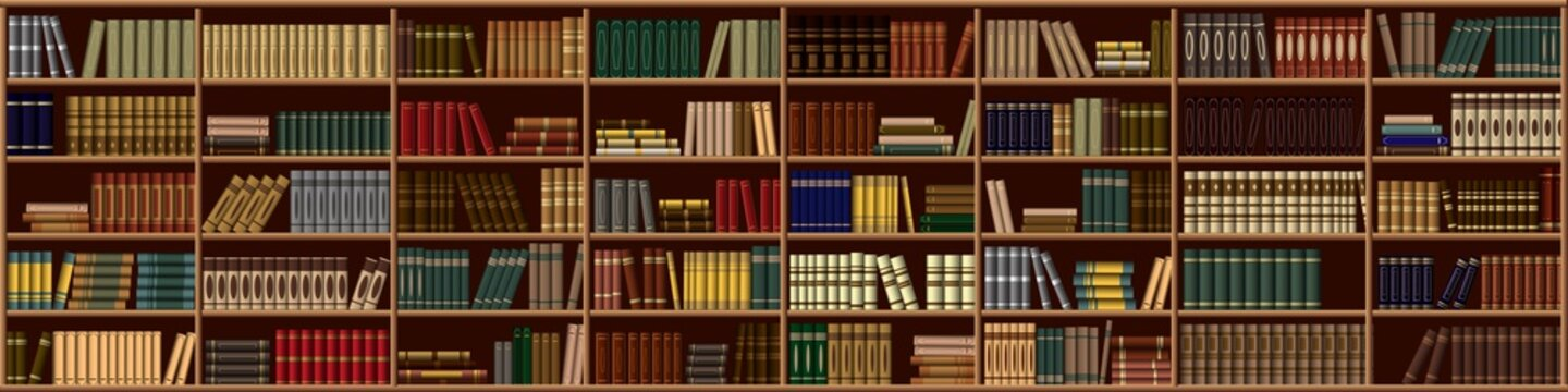 Large bookcase in the library, shop with many different books. Vector background from books. Bookshelf.