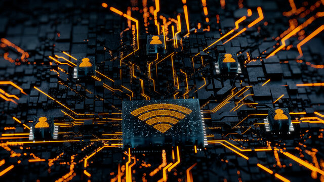 Wireless Technology Concept with wifi symbol on a Microchip. Orange Neon Data flows between Users and the CPU across a Futuristic Motherboard. 3D render.