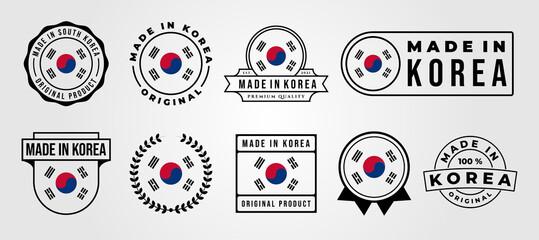 Fototapeta set bundled made in korea label badge vector illustration design, made in korea logo design obraz