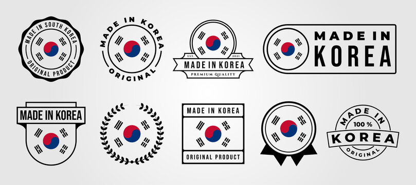 set bundled made in korea label badge vector illustration design, made in korea logo design
