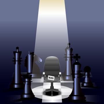 light shining down, empty boss chair, all chess on a chessboard, vector illustrator