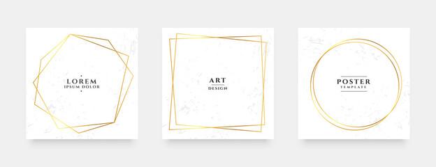 Obraz golden line frame social media stories and post banners set - fototapety do salonu