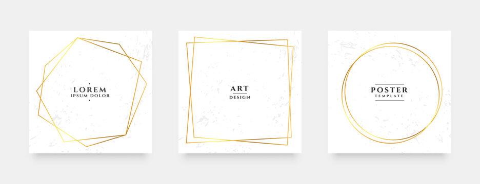 golden line frame social media stories and post banners set