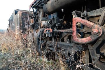 wheels of an old steam locomotive