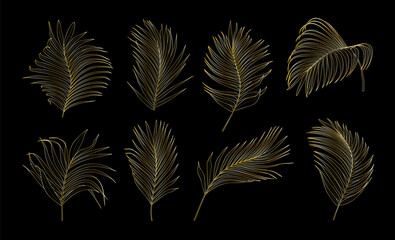 Collection of gold palm tree leaves vector Wall mural
