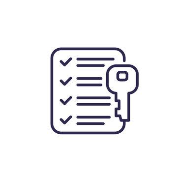 key and checklist line icon