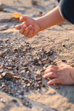 boy playing with small stones