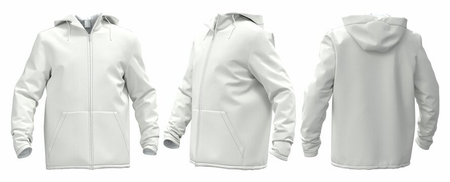 3D windbreaker template for design on a white background