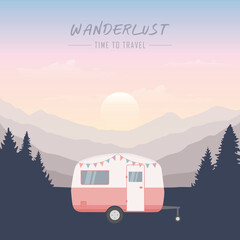 Fototapeta wanderlust camping adventure in the wilderness camper in forest and mountain landscape
