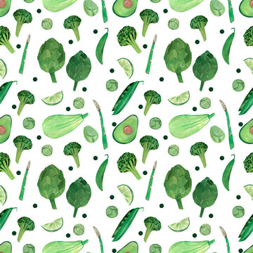Gouache hand-drawn green Pattern with avocado, asparagus, Brussels sprouts, lime, zucchini, broccoli, peas, artichoke on a white background.