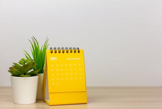 Tear-off calendar for November 2021. Desktop calendar for planning, assigning, organizing, and managing each date.