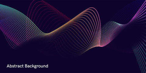 Vector abstract background with dynamic waves, lines, and particles. Illustration suitable for design