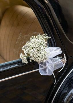 Flowers on a Wedding car Door