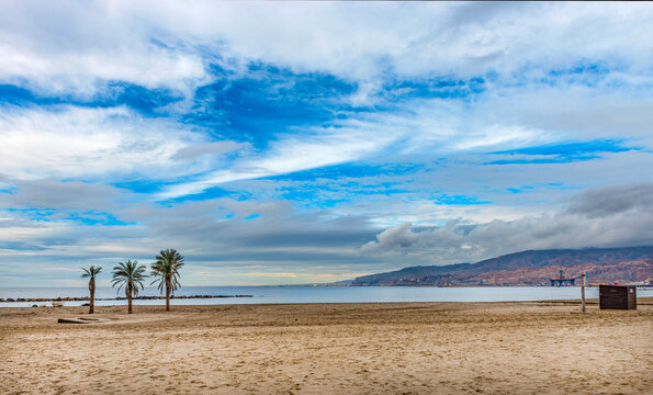 Looking over Beach towards Almeria City, Andalusia, Spain