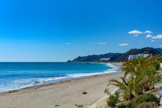 View of Mojacar Beach, Mojacar, Almeria, Andalusia, Spain