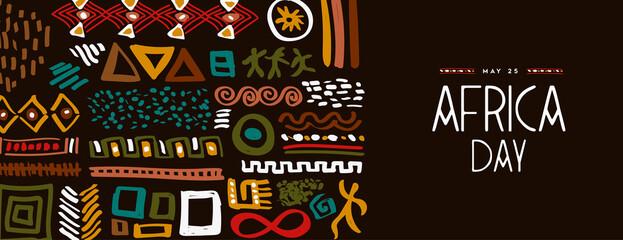 Fototapeta Africa Day may 25 abstract ethnic tribal art banner obraz