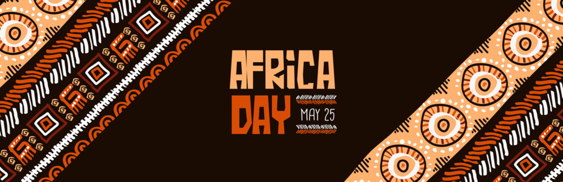 Africa Day may 25 traditional tribal art banner