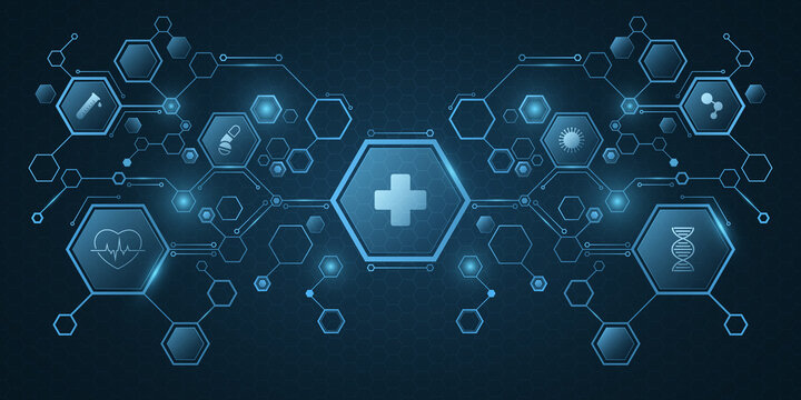 Medical science concept. Blue hexagon pattern with health care icons. Design for your ad, presentation, banner, template. Sci-fi futuristic background. Vector illustration.