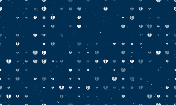 Seamless background pattern of evenly spaced white broken heart symbols of different sizes and opacity. Vector illustration on dark blue background with stars