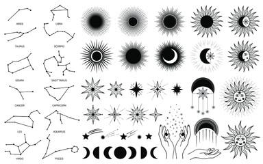 Obraz Hand drawn set of mystical Sun with woman`s face, moon, hand, zodiac symbol, star in line art. Spiritual celestial space, constellation, horoscope, astrology, magic galaxy talisman vector illustration - fototapety do salonu