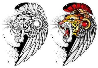 Tatuaż z ryczącym tygrysem w pióropuszu i z ptasim skrzydłem na głowie. Czarno biały obrys kolorowanka ryczący tygrys. Płaska ilustracja wektorowa.