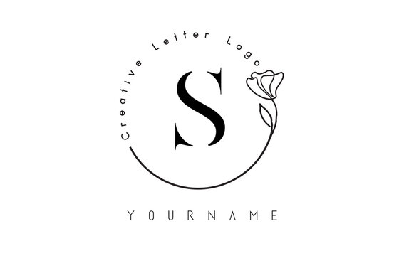Creative initial letter S logo with lettering circle hand drawn flower element and leaf.