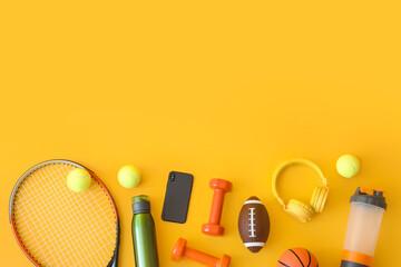 Set of sport equipment on color background - fototapety na wymiar