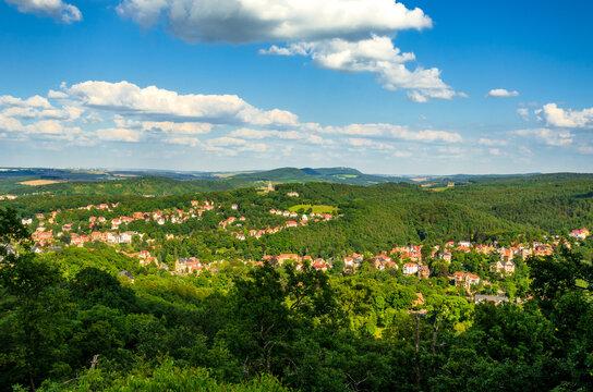 Blick von der Wartburg auf Eisenach, Thüringen, Deutschland