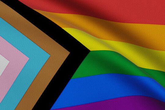 Progress LGBTQ Pride Flag. Flags For Good waving on the wind