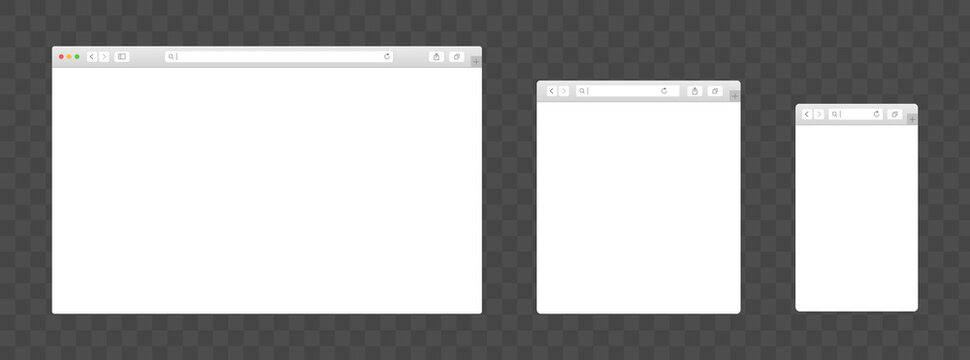 Realistic browser devices window vector set. Isolated template for mobile, laptop, monitor, tablet. Blank display design for mockup. Web responsive illustration