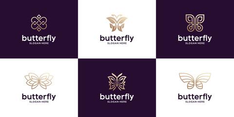 Set of luxury butterfly logo design