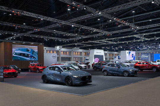 Mazda car show with beautiful exhibition design boot show on display in 42th Bangkok International Motor Show 2021
