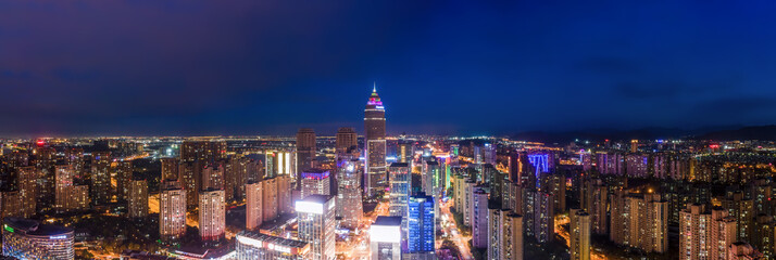 Fototapeta Aerial photography of the night view of Didang Lake Central Business District, Shaoxing, Zhejiang