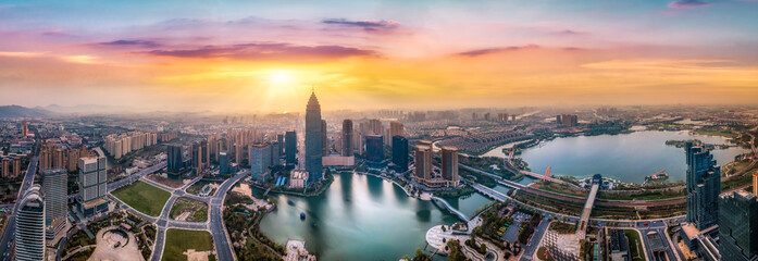 Aerial photography of the Didang Lake Central Business District, Shaoxing, Zhejiang
